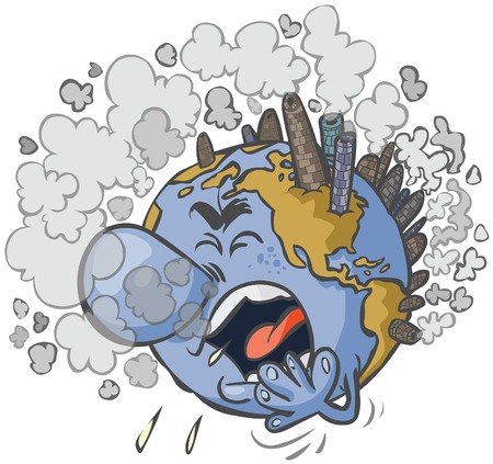choking: Cartoon Earth having a cough.