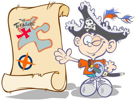 filibuster: Cartoon pirata-ragazzo con mappa del tesoro.