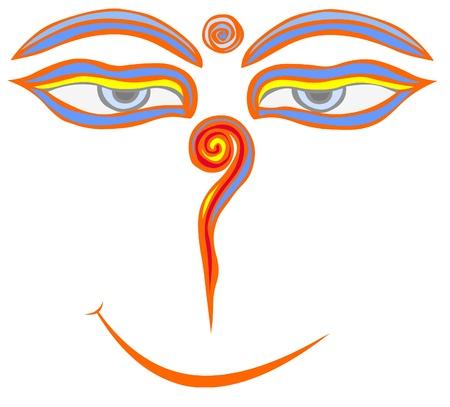 smiling buddha: Buddha eyes with a smile.