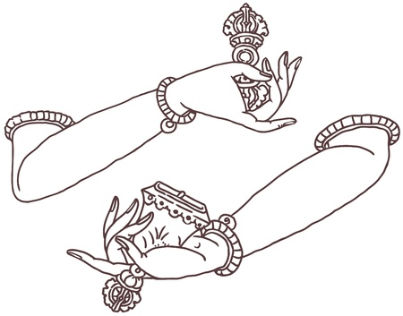 Buddha hands with Dorje and Bell.  Illustration