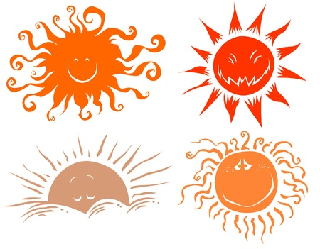 cloudy day: Four funny sun symbols