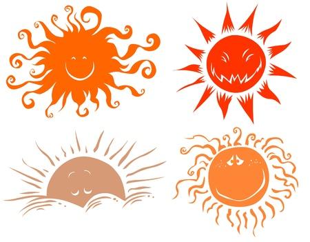 Four funny sun symbols Stock Vector - 9168758