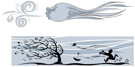 vent: Symbole de vent et silhouettes. Illustration