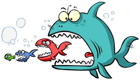 Dibujo animado de peces grandes comer hasta la más pequeña.