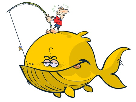 anglers: Cartoon proverbial big fish.