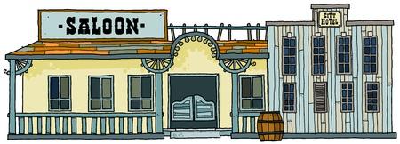 Saloon & Hotel buildings- western style. Stock Vector - 9393241
