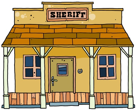 country western: Style occidental sh�rif house.  Illustration