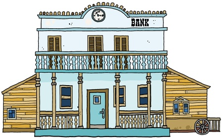 cartoon bank: Bank building -Western style.