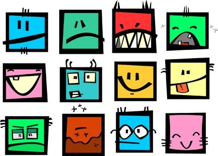 emoticone: Divertenti emoticon rettangolare.  Vettoriali