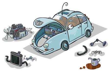 Cartoon Illustration of a Car with his Parts   Illustration
