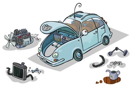 repuestos de carros: Cartoon ilustraci�n de un coche con sus partes