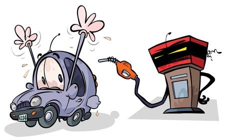 bomba de gasolina: Caricatura de la bomba de gas y de coches