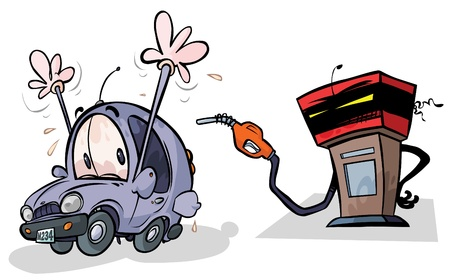 fuel economy: Cartoon Gas Pump and Car