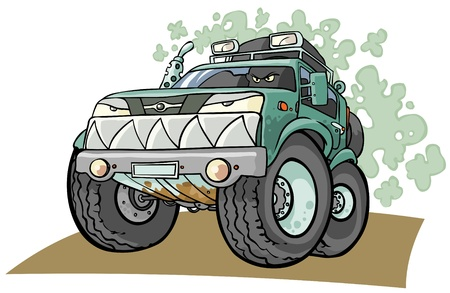 rough road: Cartoon Off road Vehicle