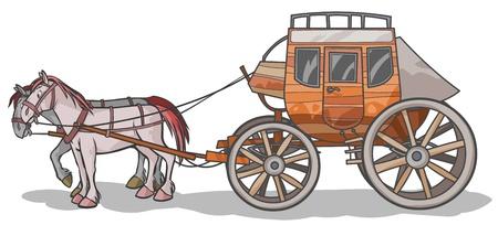carreta madera: Western Stagecoach con los caballos Vectores