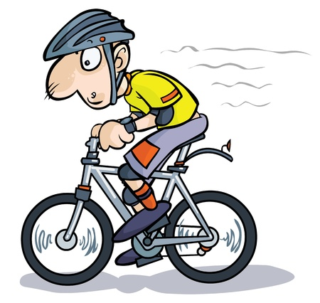 tired cartoon: Cartoon Cyclist