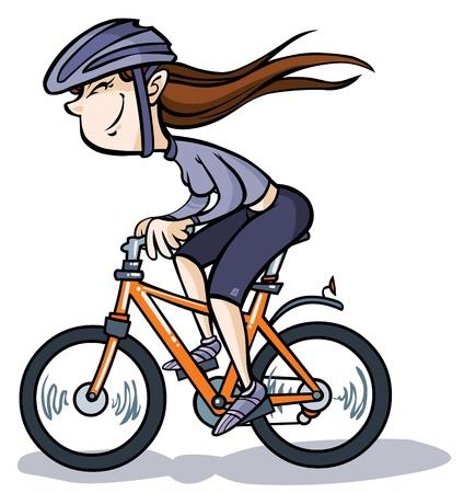 cartoon m�dchen: Karikatur-M�dchen auf Fahrrad