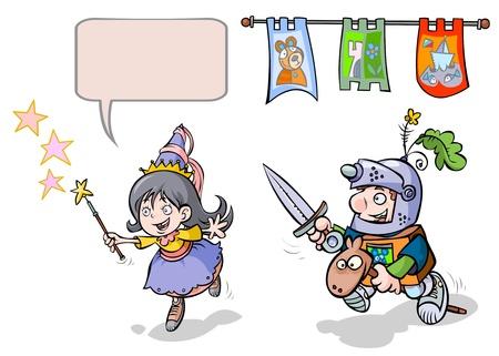 cavaliere medievale: Little Princess-Enchantress e Knight-Boy Vettoriali