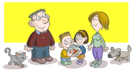 Cartoon Family illustration  Parents, Children and Pets   Vector
