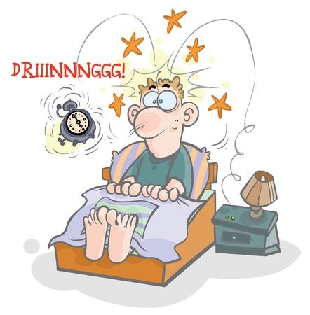 obudził: Cartoon ilustracja waking-up