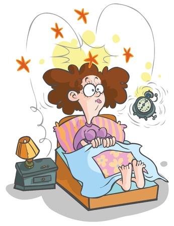 obudził: Cartoon waking-up Kobieta