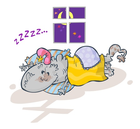 Cute Amiable Sleeping Monster  Vector