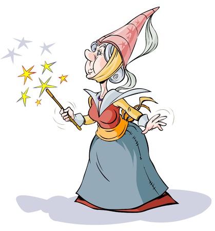 czarownica: Wróżka Czarodziejka Cartoon Character Ilustracja