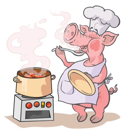 Cartoon Cook Pig