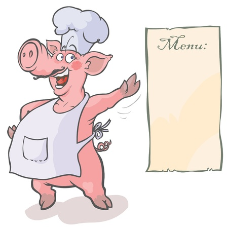 cerdo caricatura: Cartoon Pig Chef Vectores