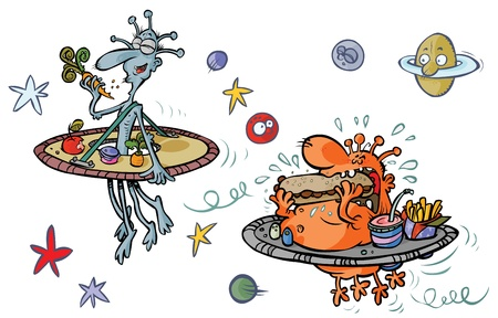 extraterrestrial: Funny Cartoon Aliens  Thin and Fat