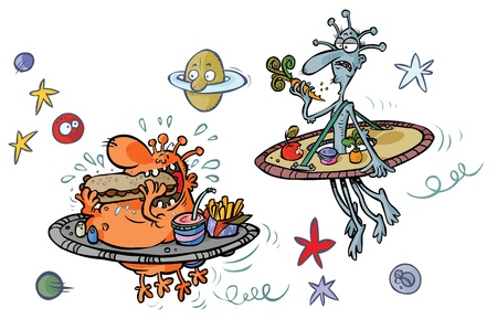 vegetable fat: Funny Cartoon Aliens  Fat and Thin