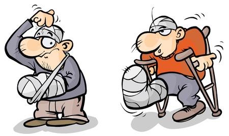 bandages: Two Cartoon men in plaster