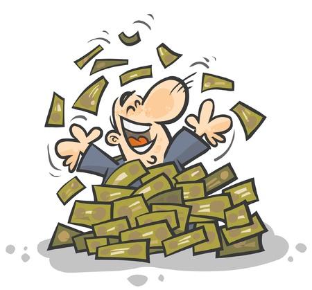 Hombre de negocios plagado de Dinero Ilustración de vector