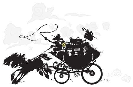 horse carriage: Western Stagecoach  Silhouette drawing