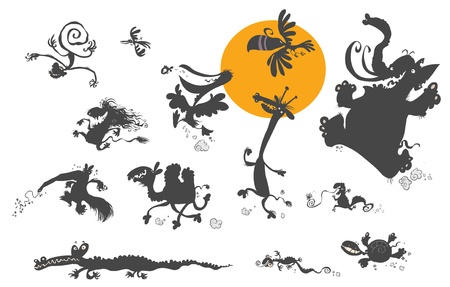 Cartoon Animal Silhouettes   Vector