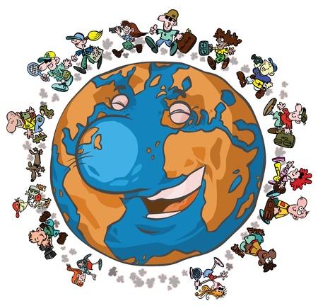 dog walker: Cartoon Earth with Globe-trotters   Illustration