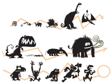 darwin: Funny Animal and Human Silhouettes on the Evolution scale