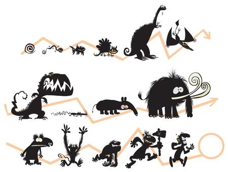 silueta mono: Funny Animal y siluetas humanas en la escala de la evoluci�n Vectores