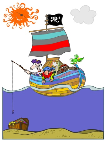 Funny pirate boat with pirates chasing treasure   Vector