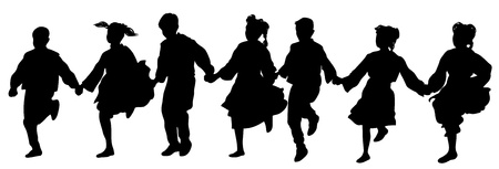 folk festival: A several Balkan Dancers  Silhouette style drawing