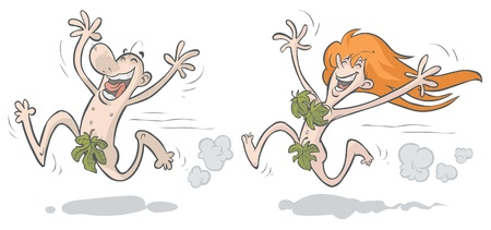 Merry man and woman running, dressed in fig leaves