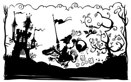 lance: Silhouette illustration of a Knight on horseback  Illustration
