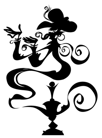 jinn: Genie in a lamp  Silhouette drawing   Illustration