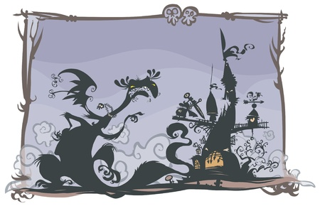 Fairy tale scene with cartoon silhouettes   Vector