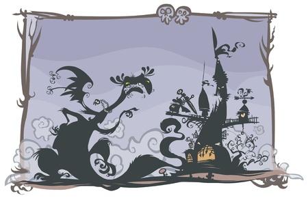 rycerze: Fairy tale sceny z sylwetką kreskówek Ilustracja