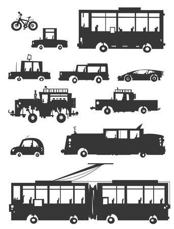 trolley: Vehicles Silhouettes in Cartoon style