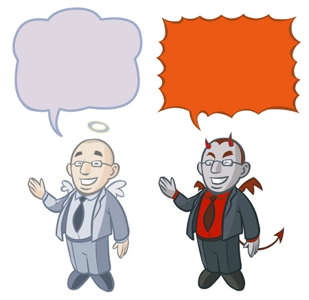 persuade: Two business characters -Good and Evil   Illustration
