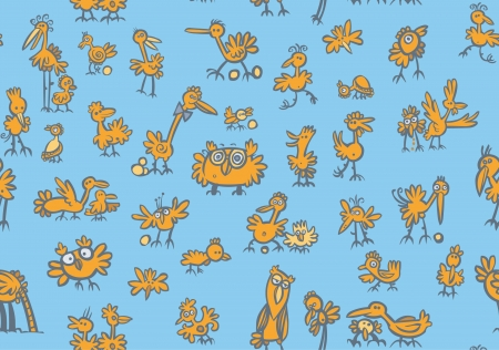 Cartoon birds Pattern with isolated background   Vector