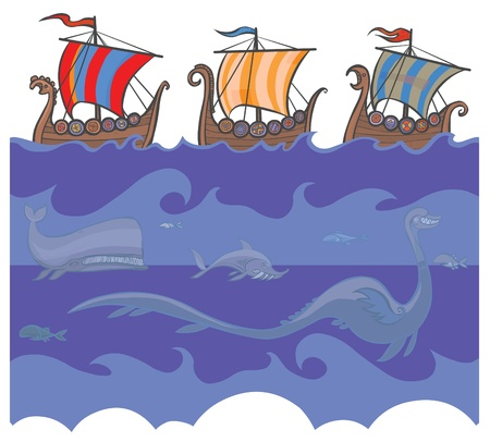 Sea background with Viking ships and sea creatures