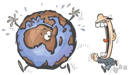 Cartoon Earth chased by Greedy Man.  Stock Vector - 16561000